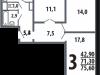 """Схема квартиры в проекте """"Новые Ватутинки. Центральный квартал""""- #244533545"""