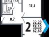 """Схема квартиры в проекте """"Новые Ватутинки. Центральный квартал""""- #952815186"""