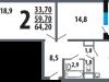 """Схема квартиры в проекте """"Новые Ватутинки. Центральный квартал""""- #1334490154"""